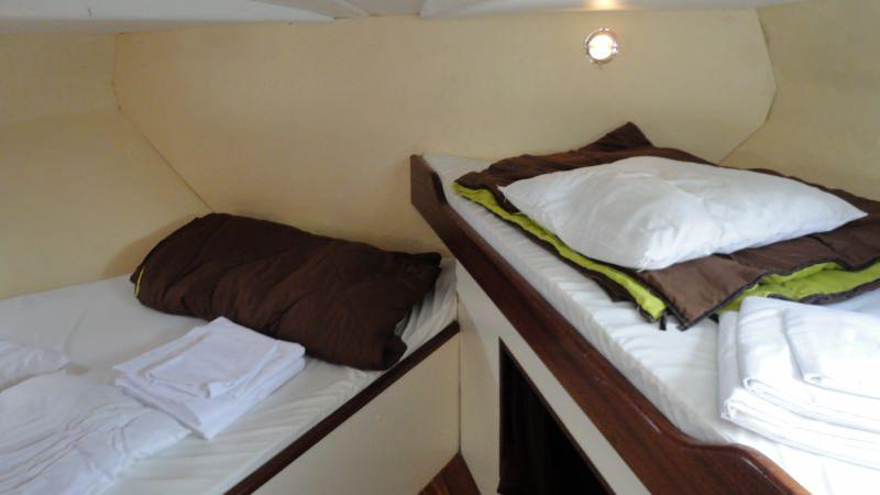 Boating Holidays with the Tarpon 42 A - Front Cabin with a Double Bed and a Single Bed