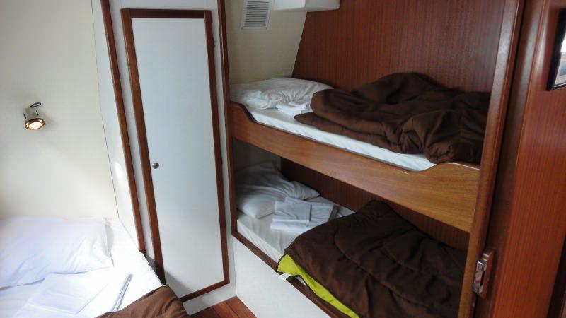 Boating Holidays with the Tarpon 42 A - Starboard Rear Cabin with 3 Bunk Beds