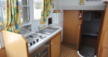 the barge kitchen with large fridge