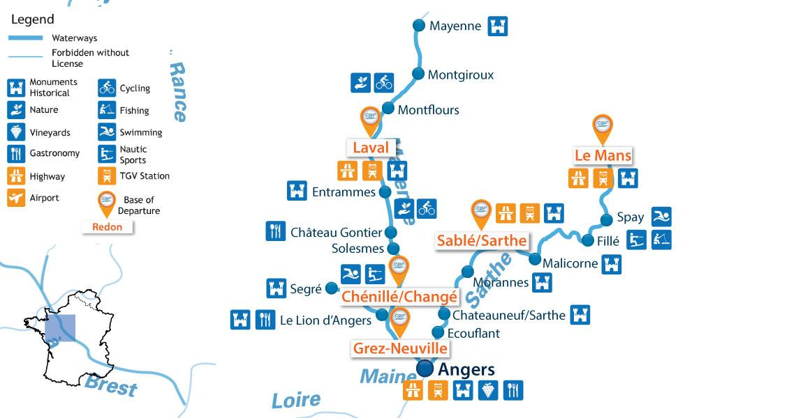 Zoom Waterways Map for Boating Holidays in Mayenne / Anjou