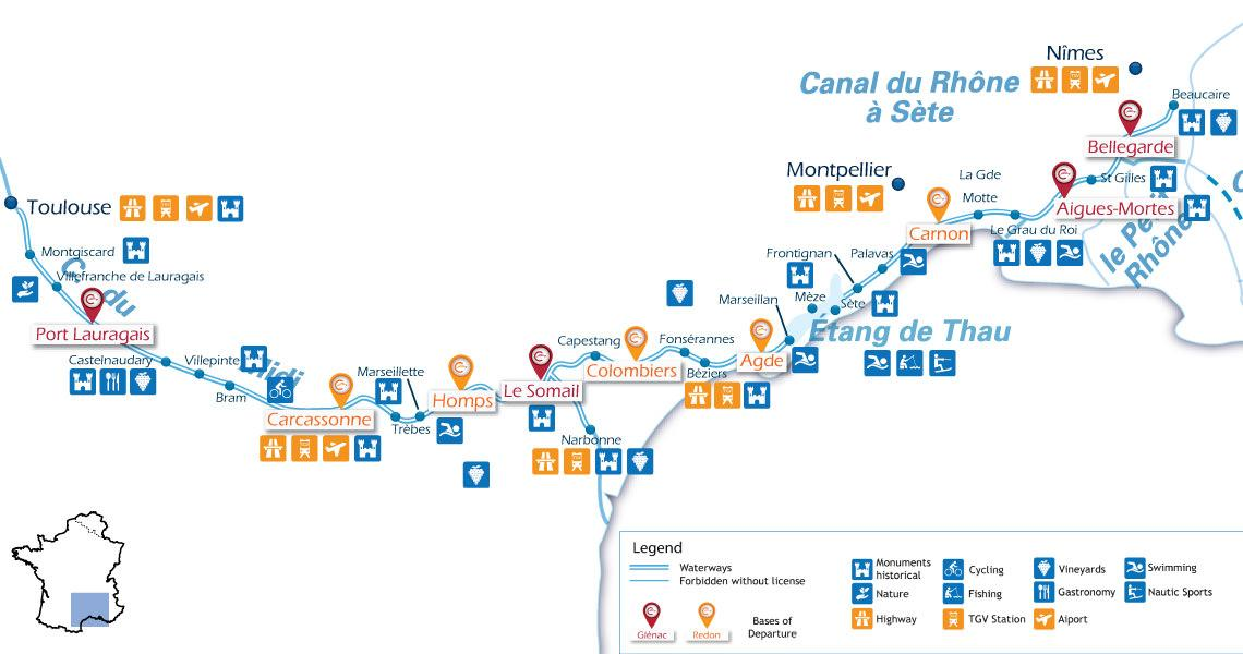 Zoom Waterways Map for Boating Holidays on the Canal du Midi