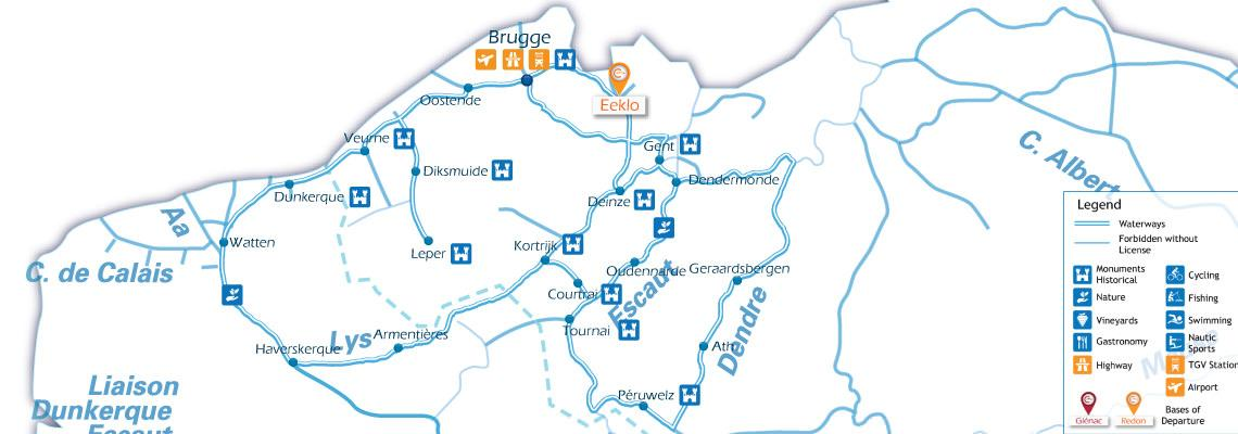 Waterways Map for Boating Holidays in Belguim