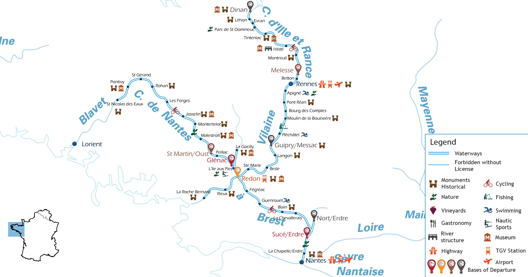 Zoom Waterways Map for Boating Holidays in Brittany