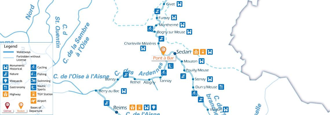 Waterways Map for Boating Holidays in Ardennes