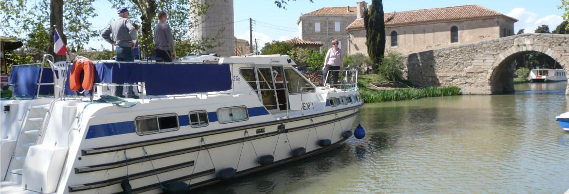 Somail The Bridge on the Canal du Midi by barge on canal boating holidays