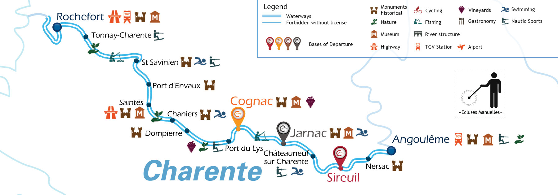 Waterways Map for Boating Holidays in Charente