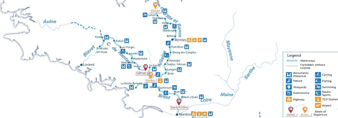 Waterways Map for Boating Holidays in Brittany