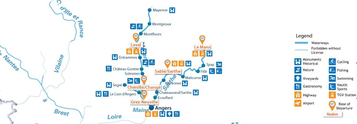 Waterways Map for Boating Holidays in Mayenne / Anjou