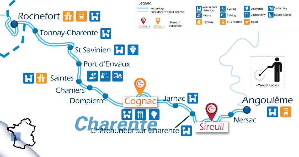 Zoom Waterways Map for Boating Holidays in Charente