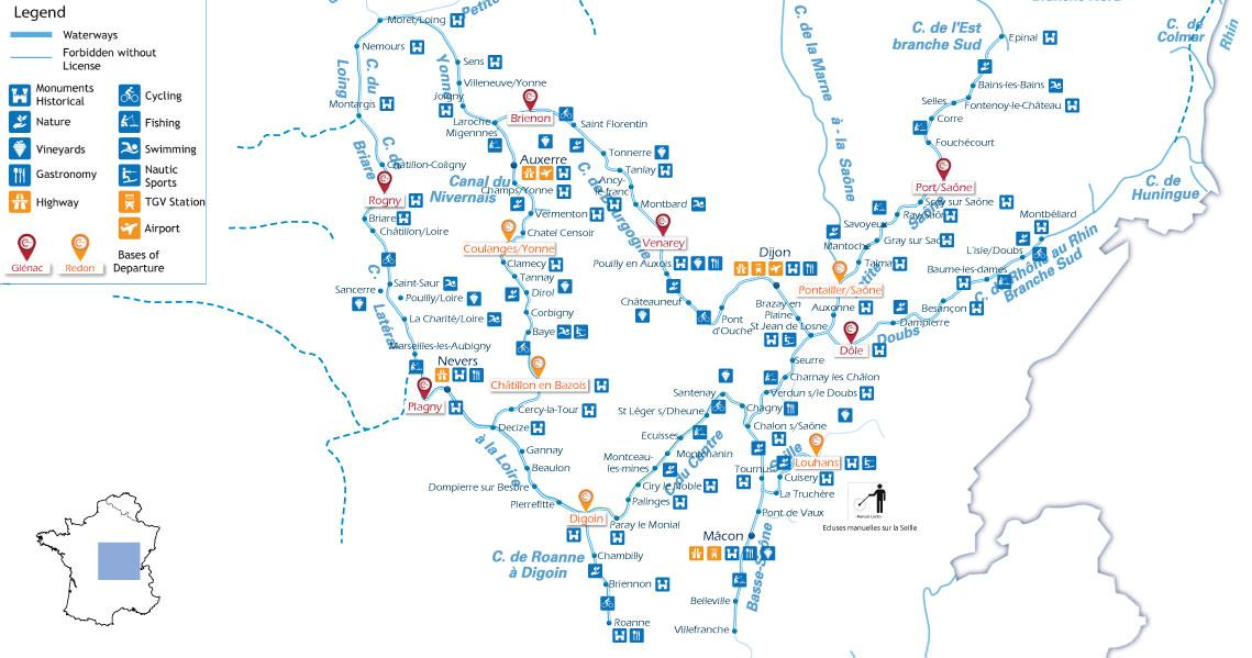 Zoom Map for river cruise in burgundy in france V2